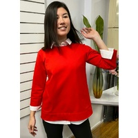 High/Low Ponti Top in Red by Domchi