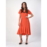 Vassalli Long Dress with Flared Hem Panel