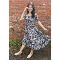Dianne Frank Leopard Print Tier Dress