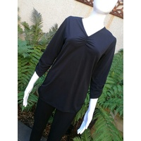 Domchi V Neck Sorrento Top with Ruching Neckline & Sleeve