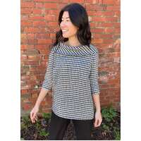 Domchi Check Linen 3/4 Sleeve Top