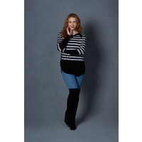 Merino Cashmere Striped Curved Hem Pullover by B&L